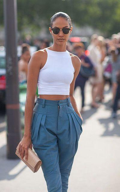 Calças de cintura subida